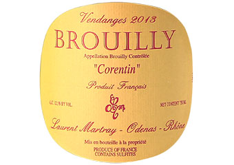 Laurent Martray - Brouilly - Corentin - Rouge - 2013