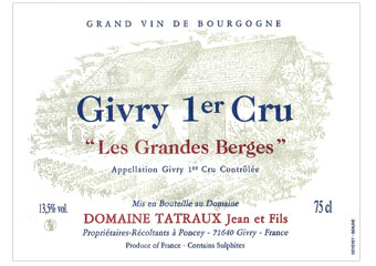 Domaine Tatraux - Givry 1er Cru - Les Grandes Berges Rouge 2011